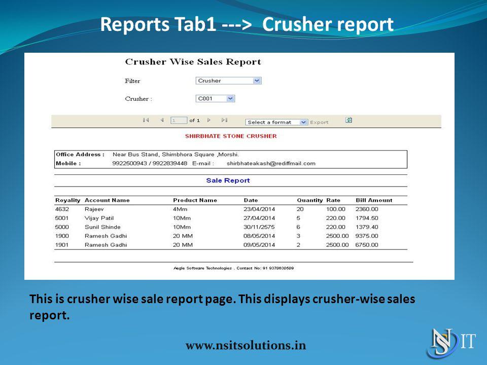 Reports Tab1 ---> Crusher report