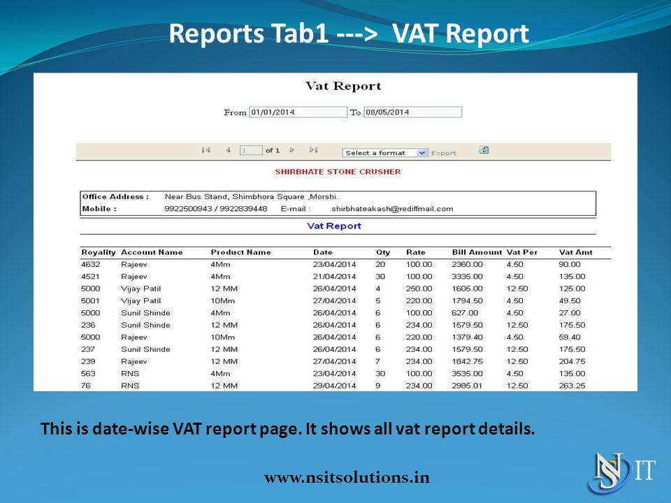 Reports Tab1 ---> VAT Report