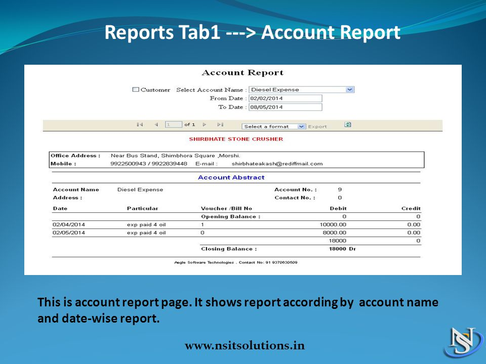 Reports Tab1 ---> Account Report