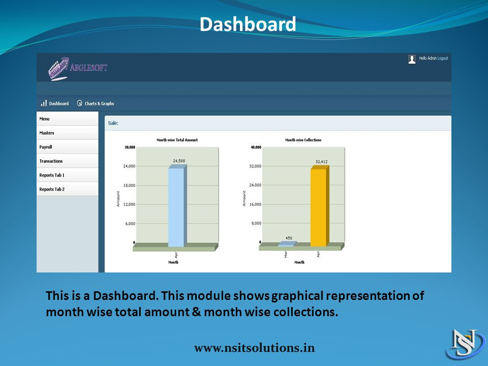 Dashboard This is a Dashboard. This module shows graphical representation of month wise total amount & month wise collections.