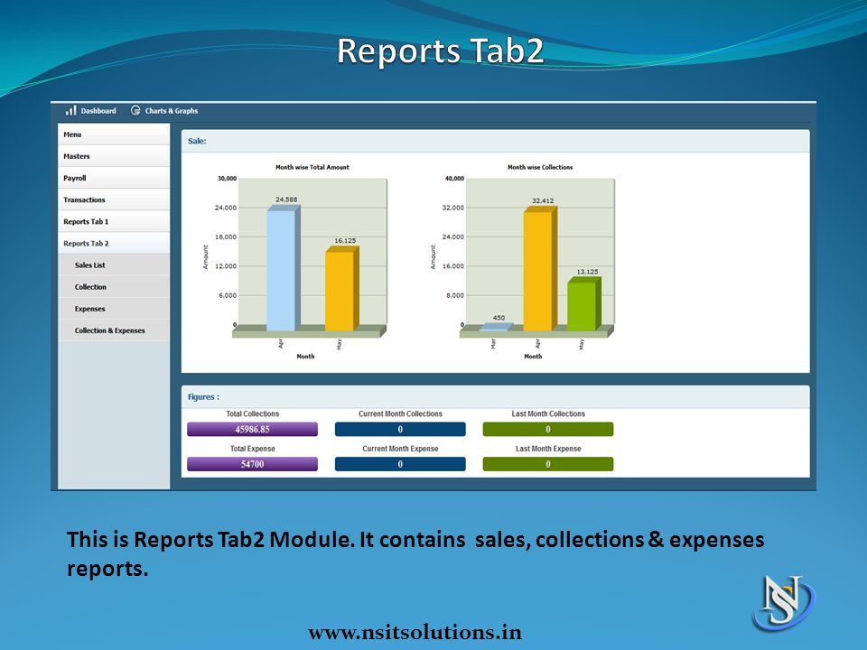 Reports Tab2 This is Reports Tab2 Module. It contains sales, collections & expenses reports.
