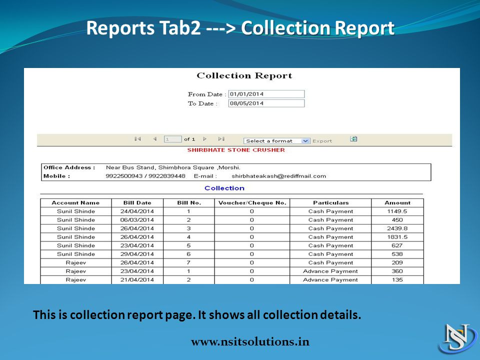 Reports Tab2 ---> Collection Report