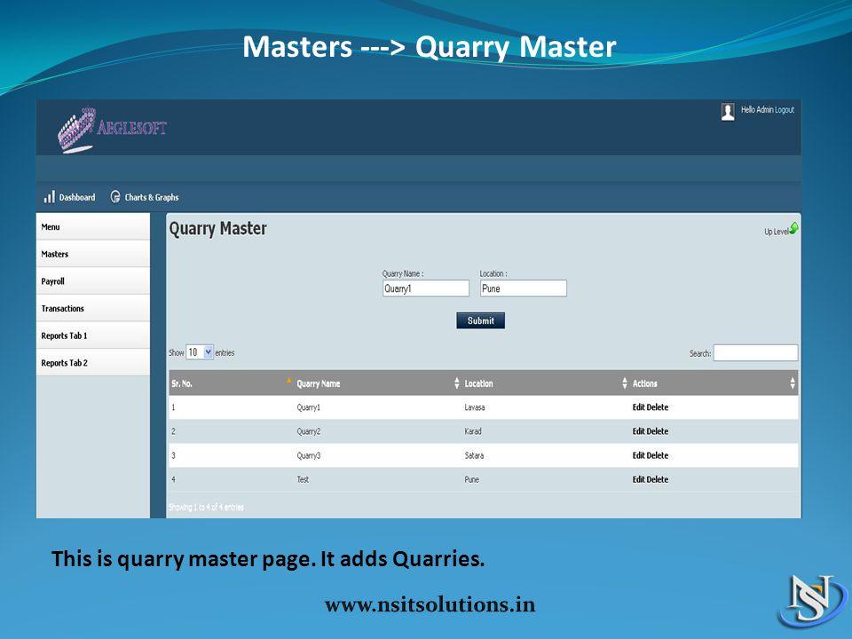 Masters ---> Quarry Master