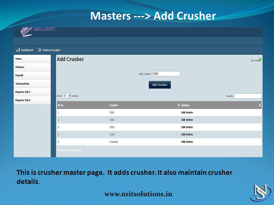 Masters ---> Add Crusher