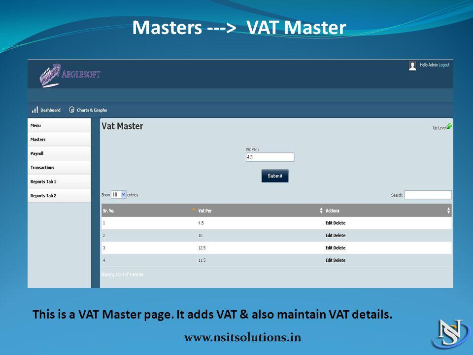 Masters ---> VAT Master