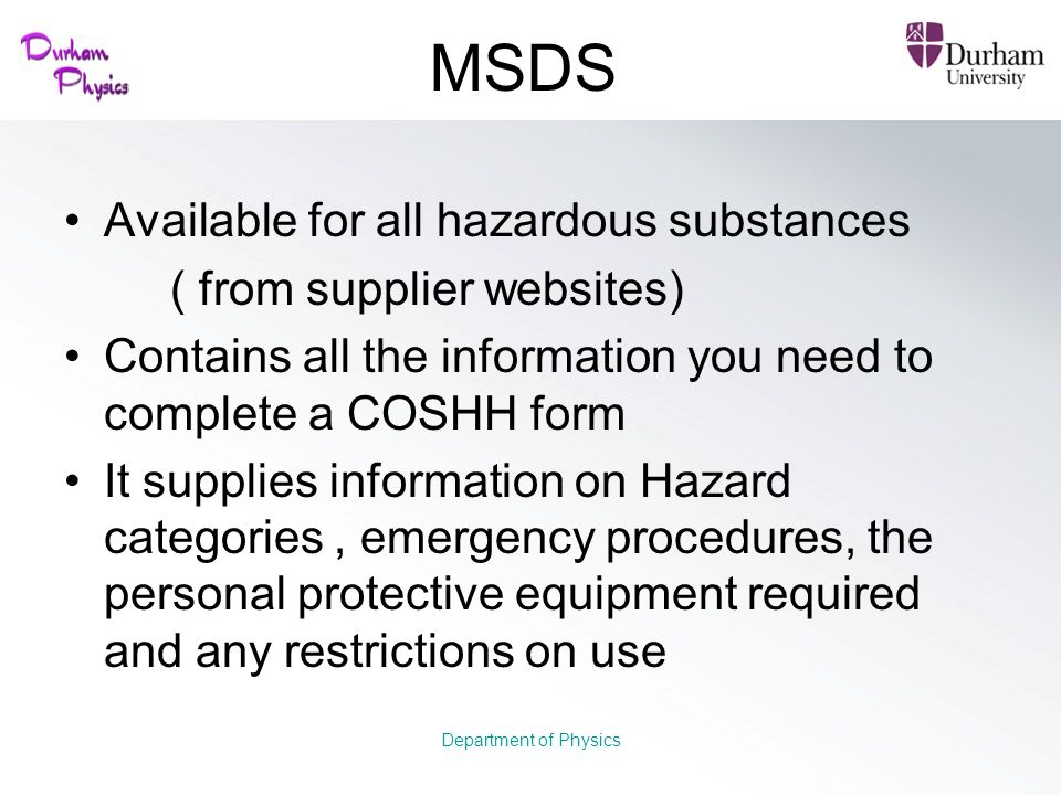 MSDS Available for all hazardous substances ( from supplier websites)