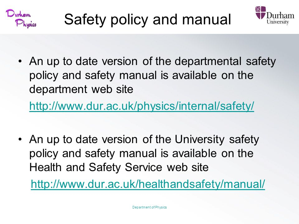 Safety policy and manual