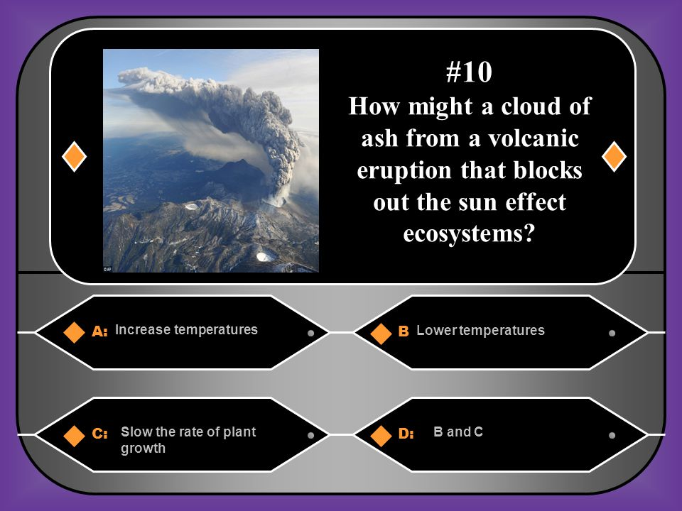 #10 How might a cloud of ash from a volcanic eruption that blocks out the sun effect ecosystems A: