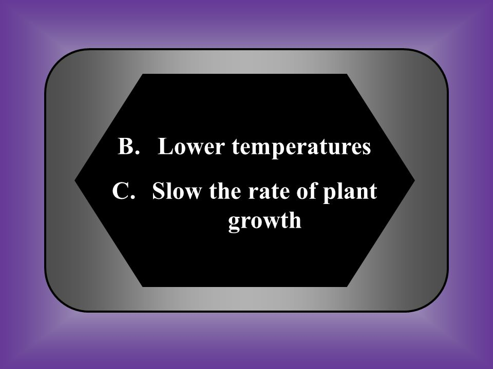 Slow the rate of plant growth