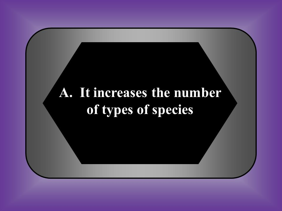 A. It increases the number of types of species