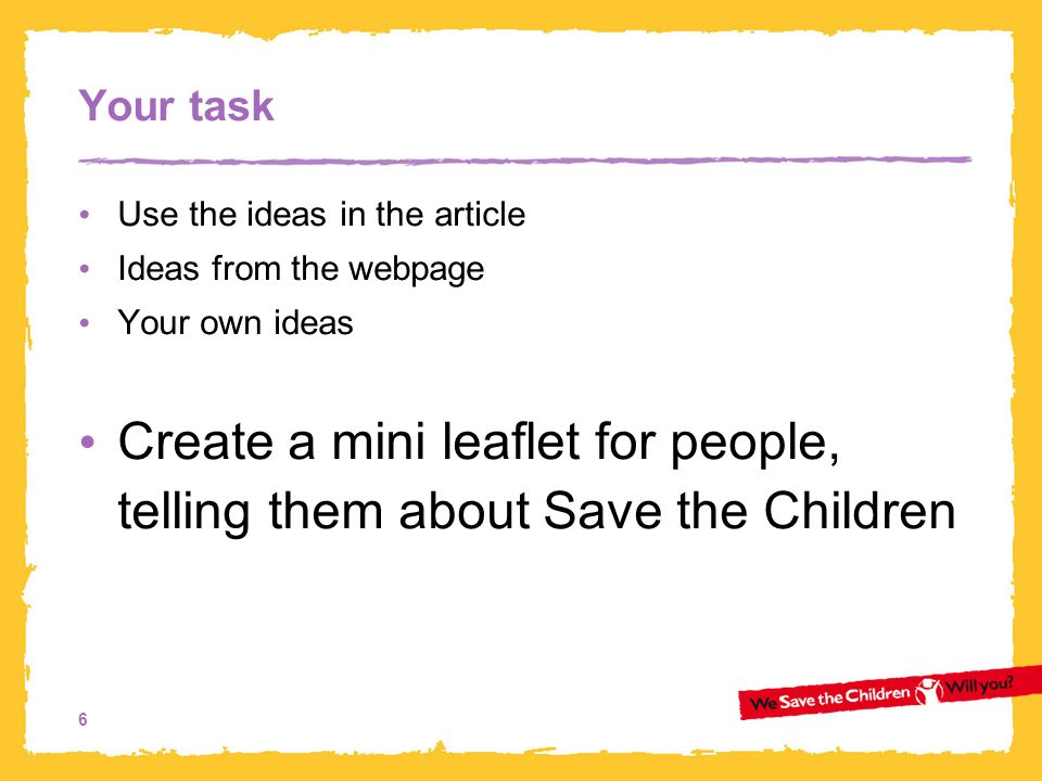 Create a mini leaflet for people, telling them about Save the Children