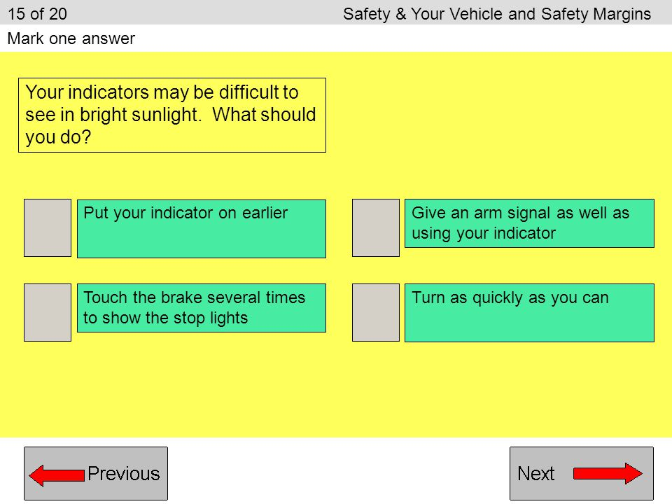 15 of 20 Safety & Your Vehicle and Safety Margins