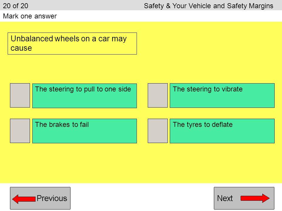 Unbalanced wheels on a car may cause