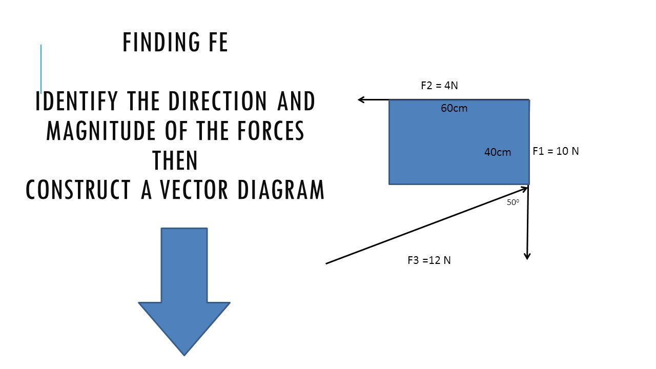 F1 = 10 N F2 = 4N. F3 =12 N. 50o. Finding FE Identify the direction and magnitude of the forces then construct a vector diagram.
