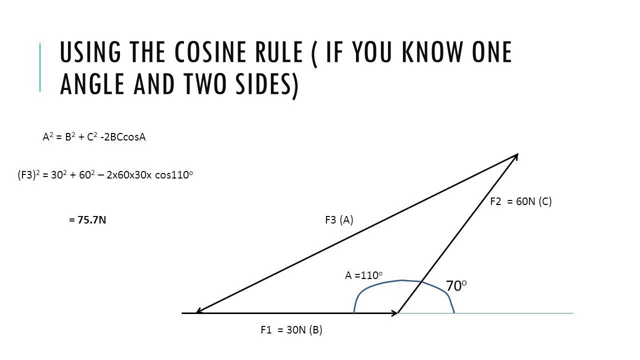 Using the cosine rule ( if you know one angle and two sides)