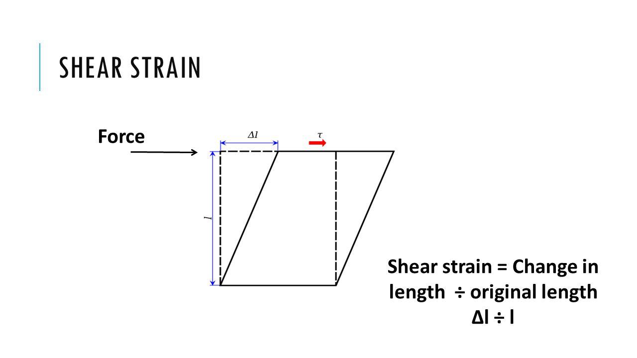 Shear strain = Change in length ÷ original length