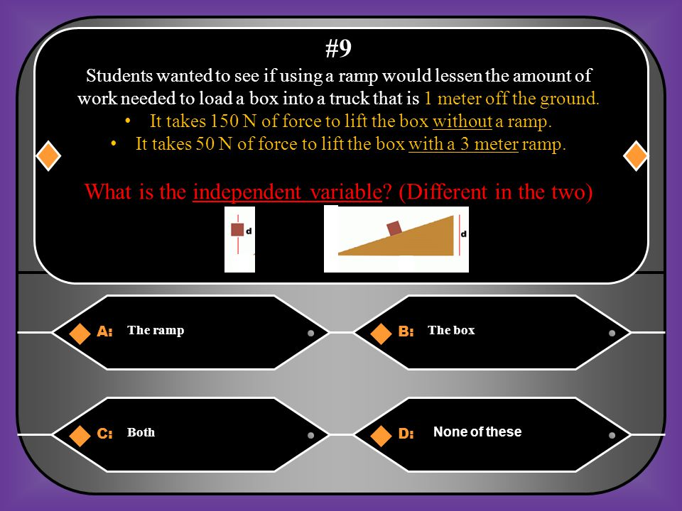#9 What is the independent variable (Different in the two)