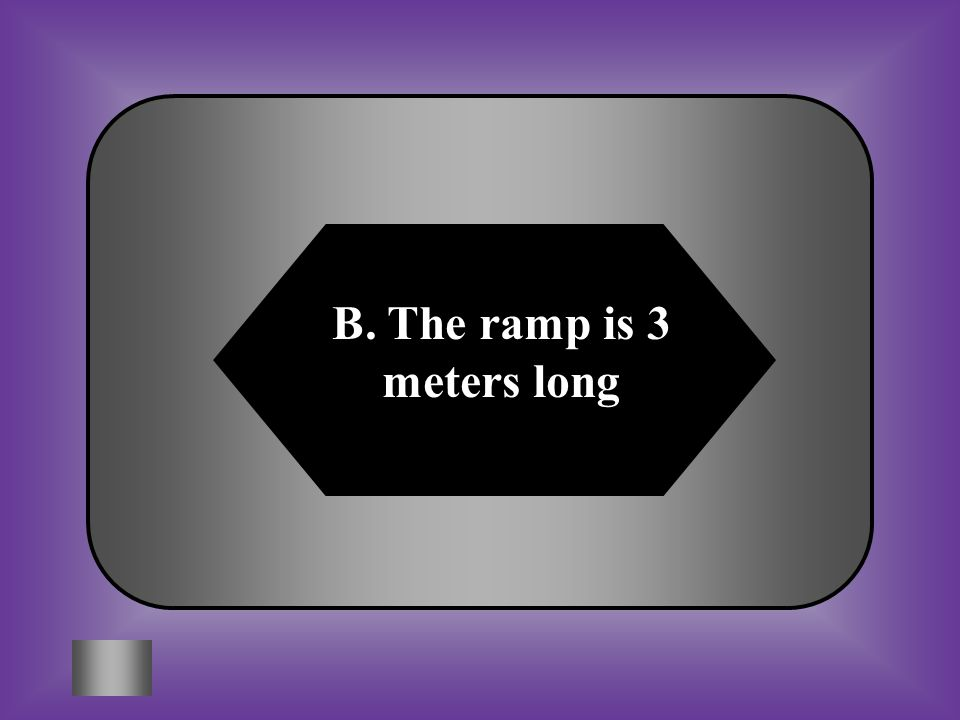 B. The ramp is 3 meters long