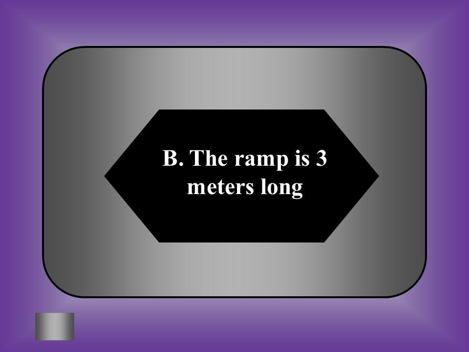 B. The ramp is 3 meters long