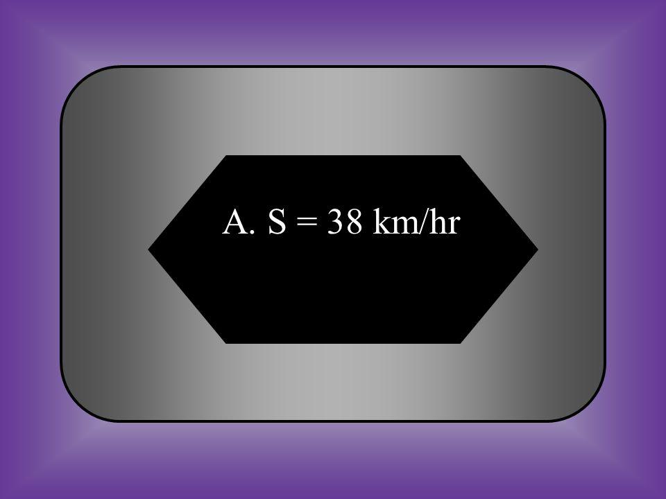 A. S = 38 km/hr