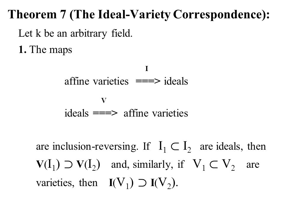 Theorem 7 (The Ideal-Variety Correspondence):