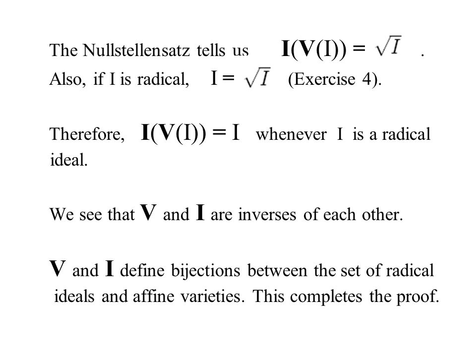 The Nullstellensatz tells us I(V(I)) = .