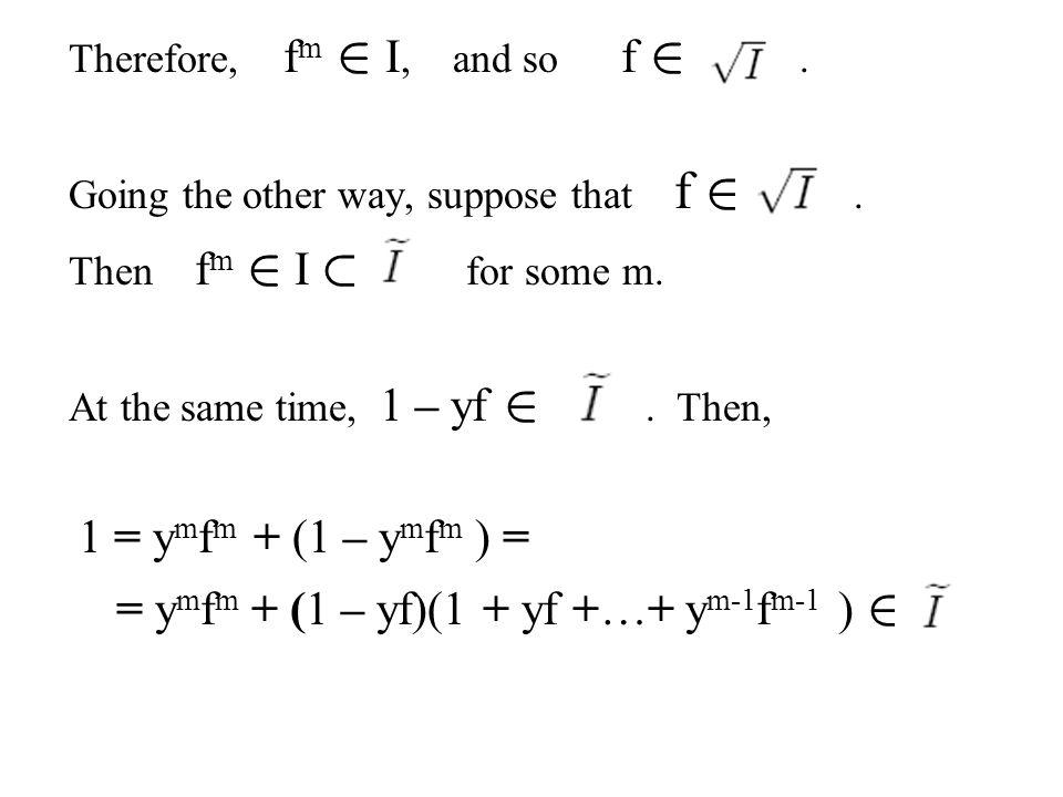 = ymfm + (1 – yf)(1 + yf +…+ ym-1fm-1 ) 2
