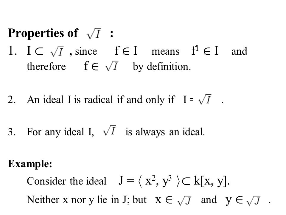 1. I ½ , since f 2 I means f1 2 I and therefore f 2 by definition.