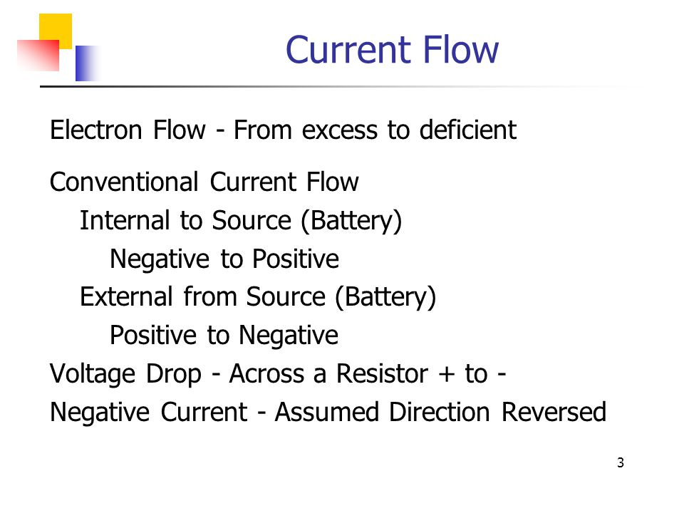 Current Flow Electron Flow - From excess to deficient