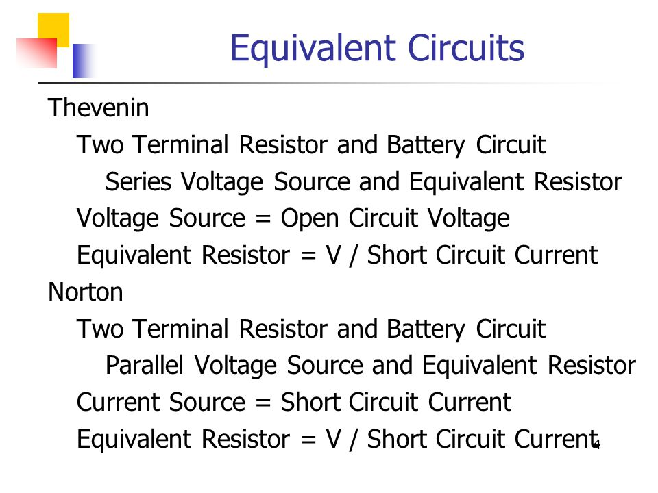 Equivalent Circuits Thevenin Two Terminal Resistor and Battery Circuit