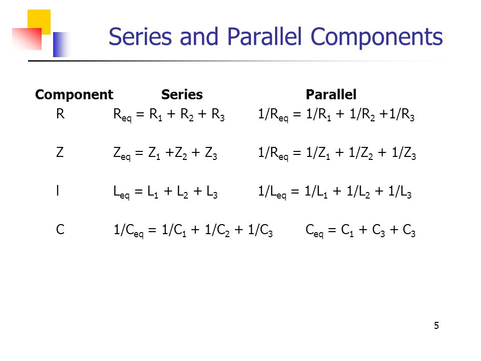 Series and Parallel Components