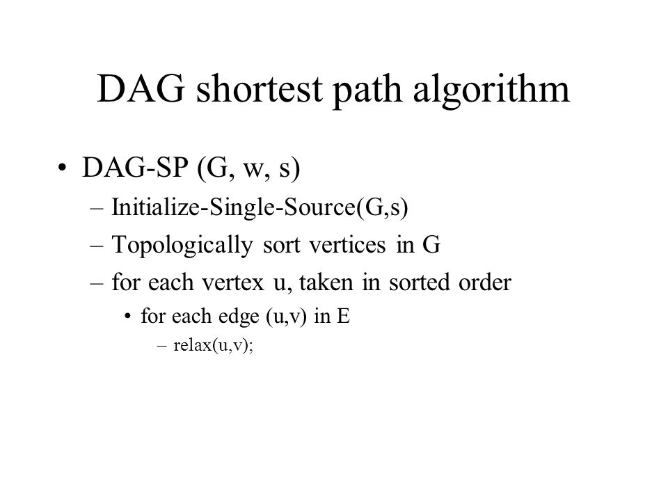 DAG shortest path algorithm