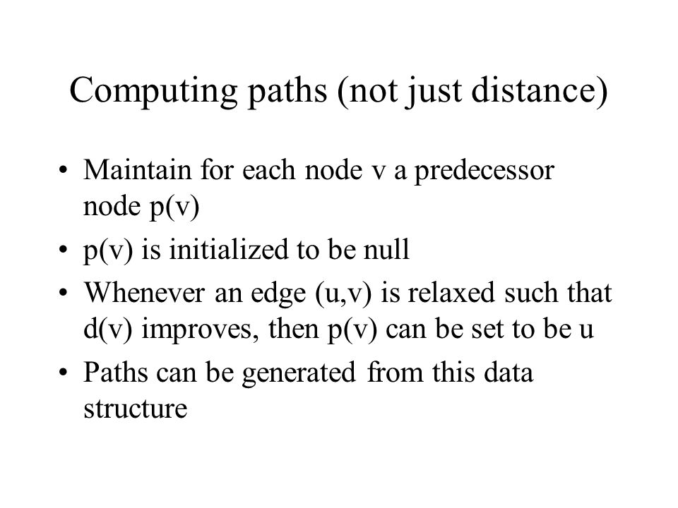 Computing paths (not just distance)