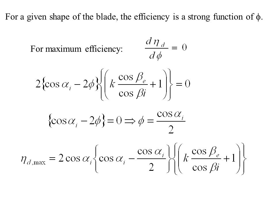 For a given shape of the blade, the efficiency is a strong function of f.