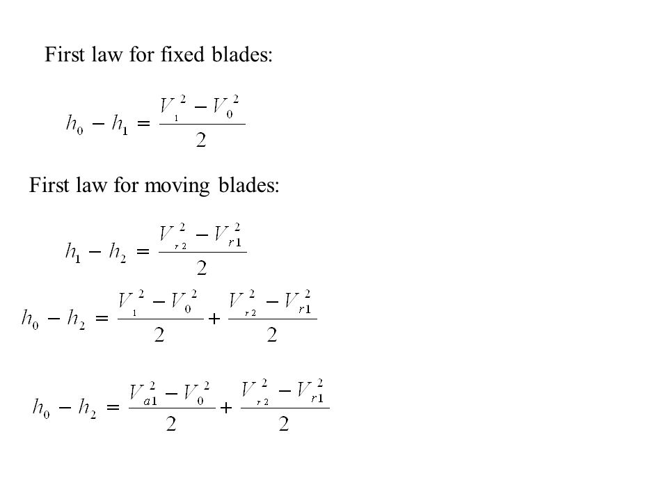 First law for fixed blades: