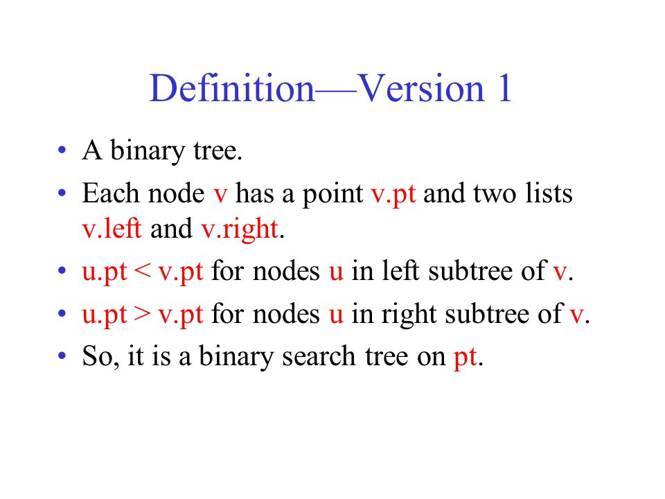 Definition—Version 1 A binary tree.