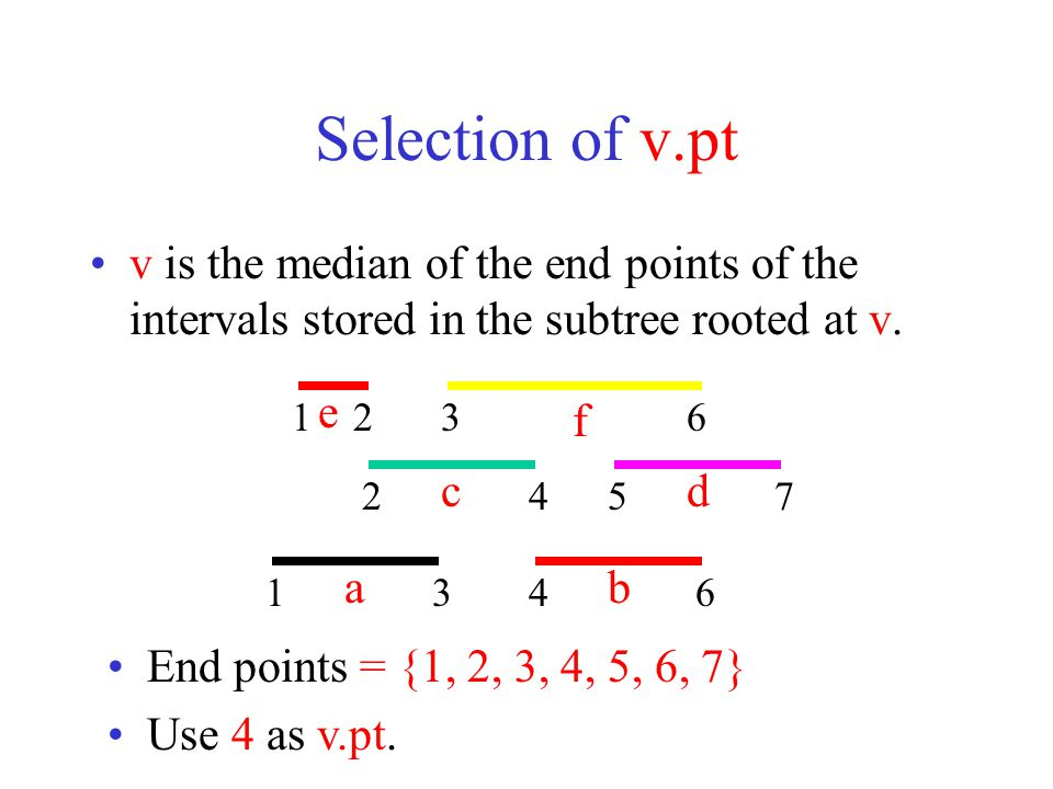 Selection of v.pt v is the median of the end points of the intervals stored in the subtree rooted at v.