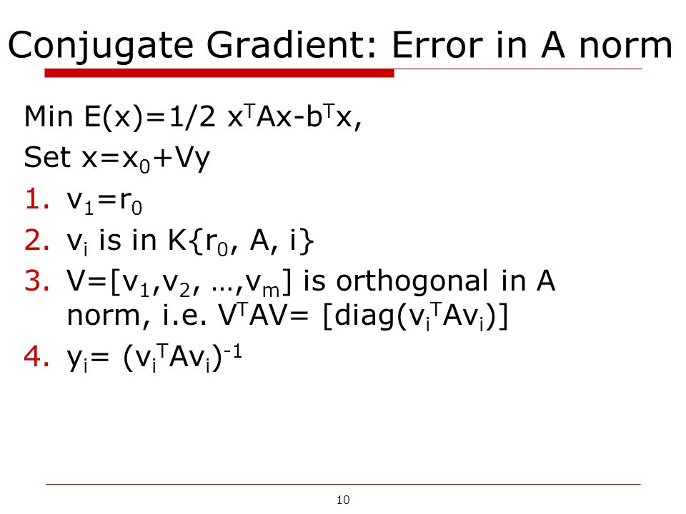 Conjugate Gradient: Error in A norm