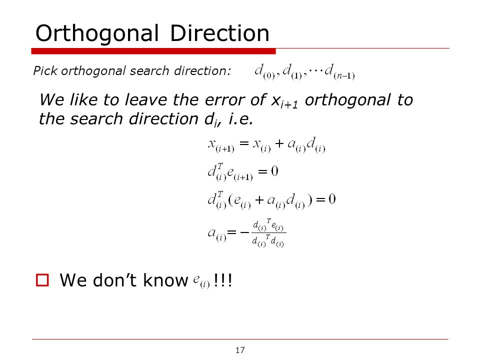 Orthogonal Direction We don't know !!!