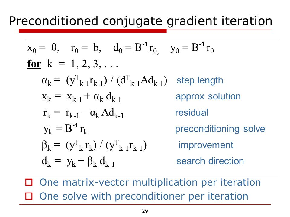 Preconditioned conjugate gradient iteration