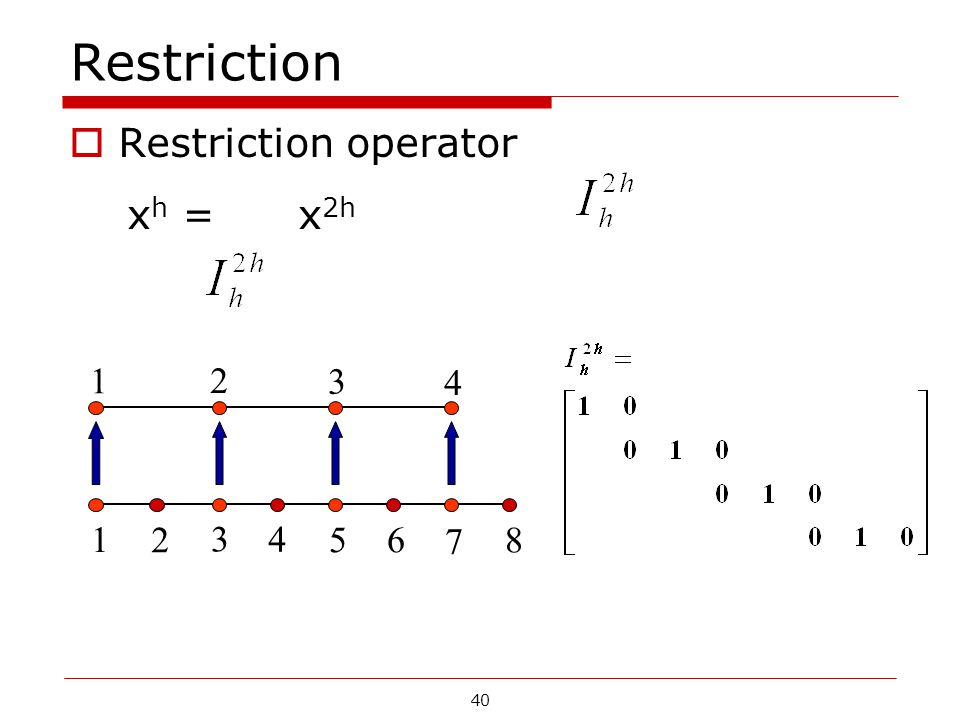 Restriction Restriction operator xh = x2h 1 2 3 4 5 6 7 8
