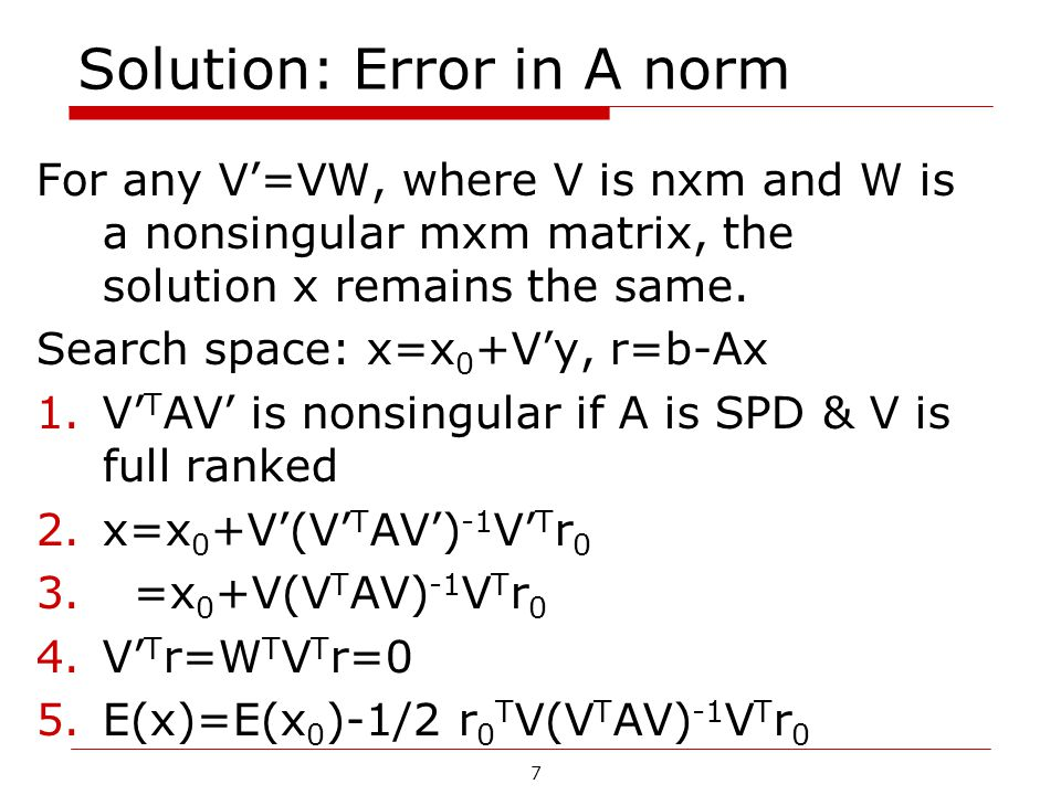 Solution: Error in A norm