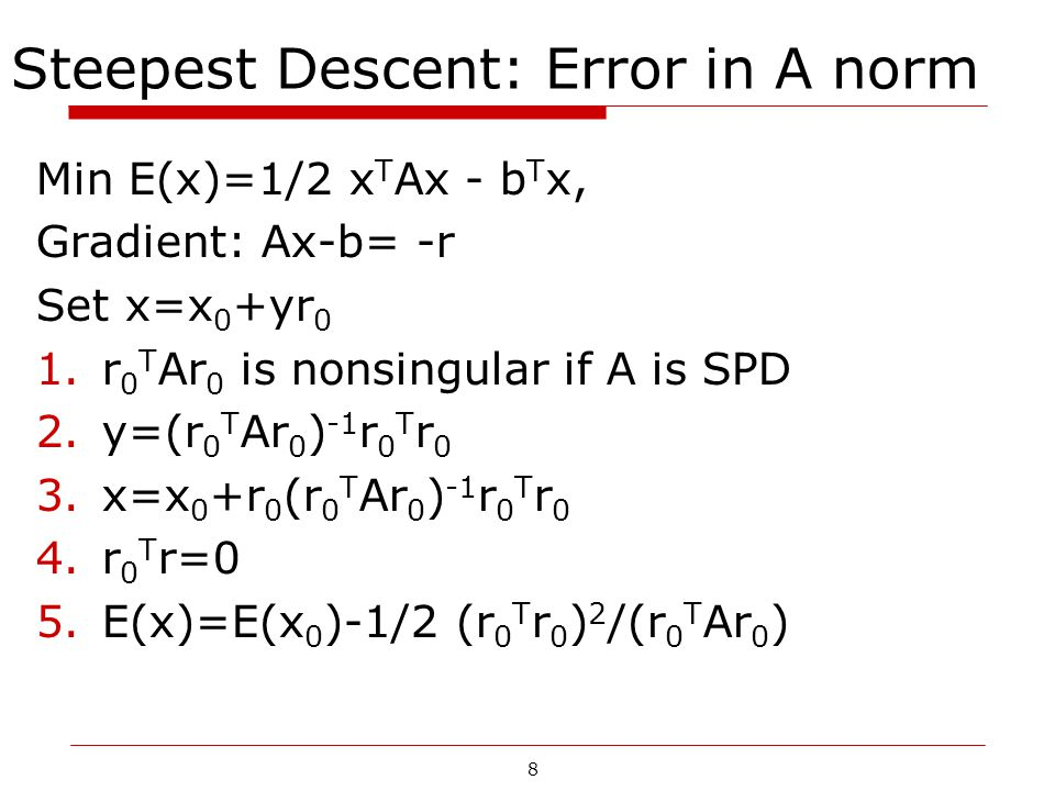 Steepest Descent: Error in A norm