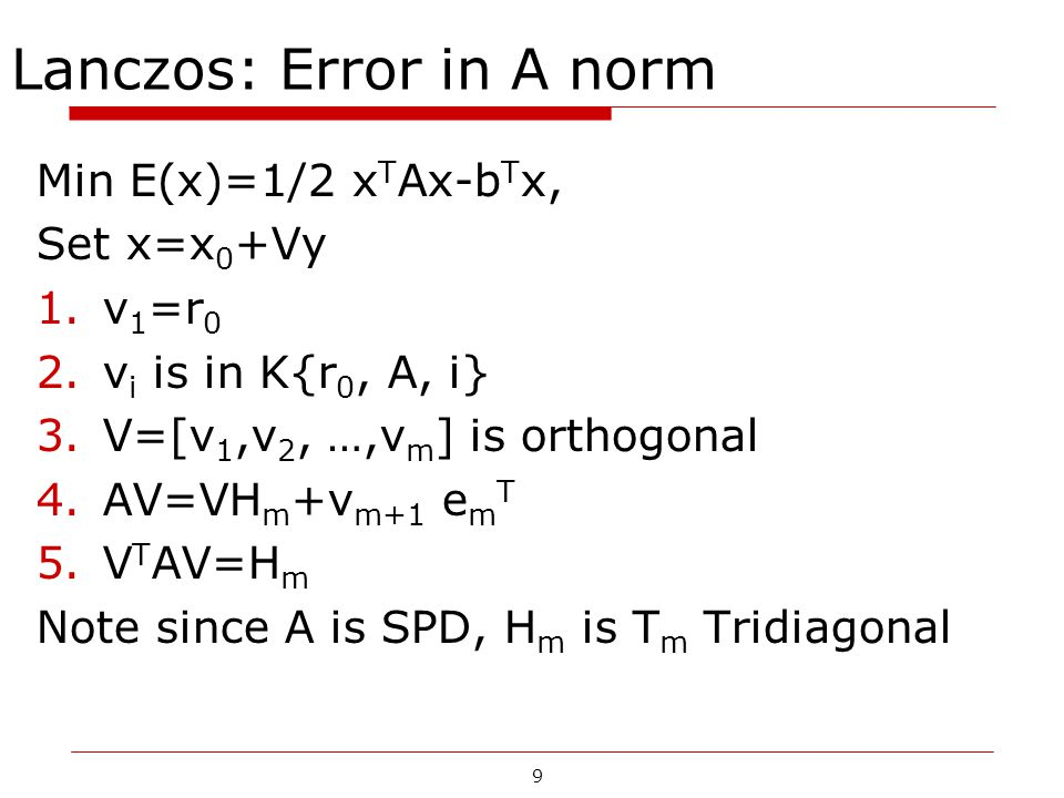 Lanczos: Error in A norm