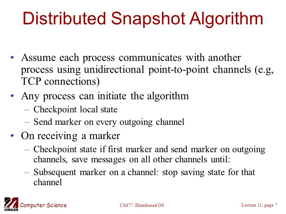 Distributed Snapshot Algorithm