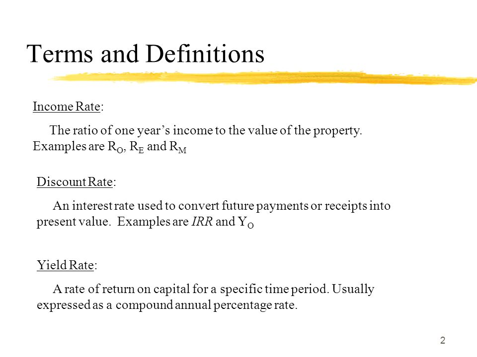 Terms and Definitions Income Rate: