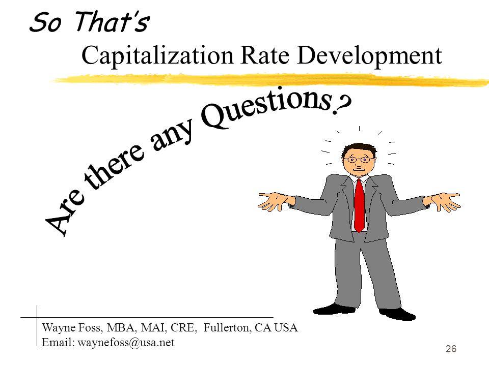So That's Capitalization Rate Development