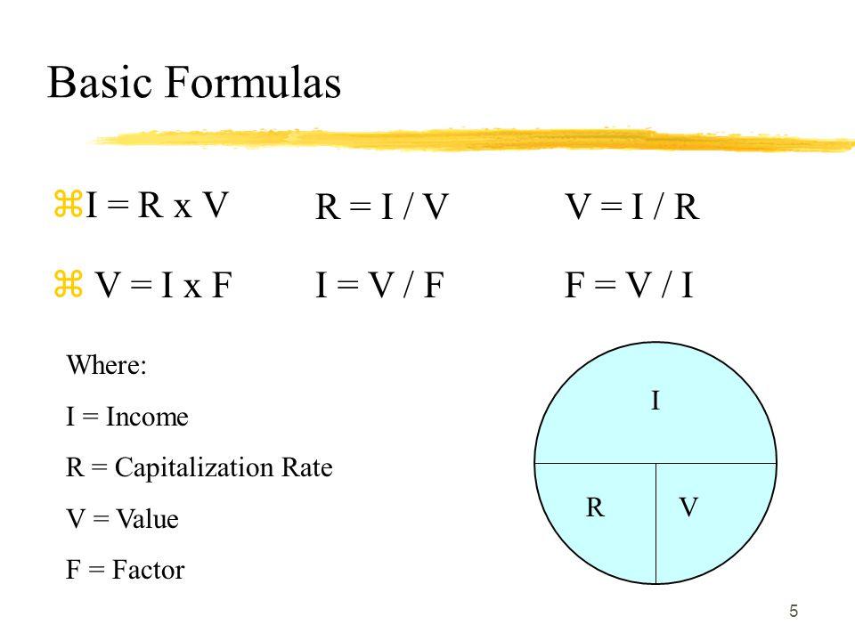 Basic Formulas I = R x V R = I / V V = I / R V = I x F I = V / F