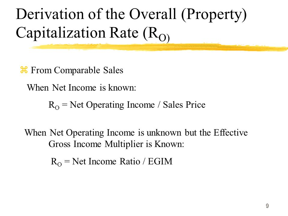 Derivation of the Overall (Property) Capitalization Rate (RO)