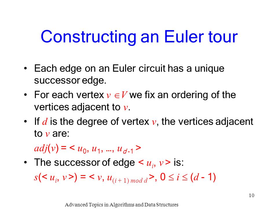 Constructing an Euler tour